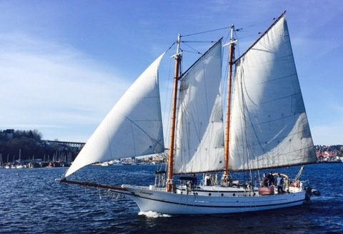 Have fun in Seattle inboard 1926 wooden gaff rigged schooner