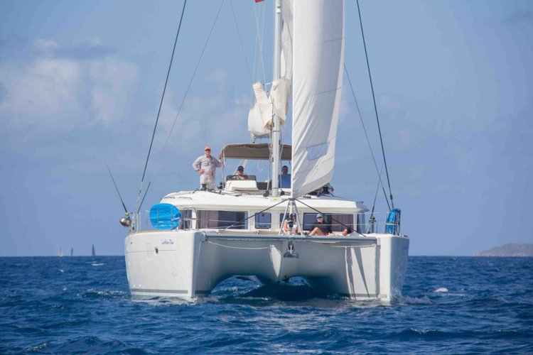This 45.0' Lagoon cand take up to 10 passengers around Nanny Cay