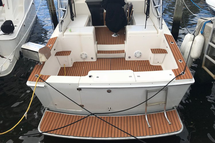 Up to 8 persons can enjoy a ride on this Express cruiser boat