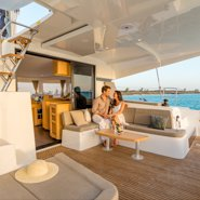 Up to 8 persons can enjoy a ride on this Lagoon boat