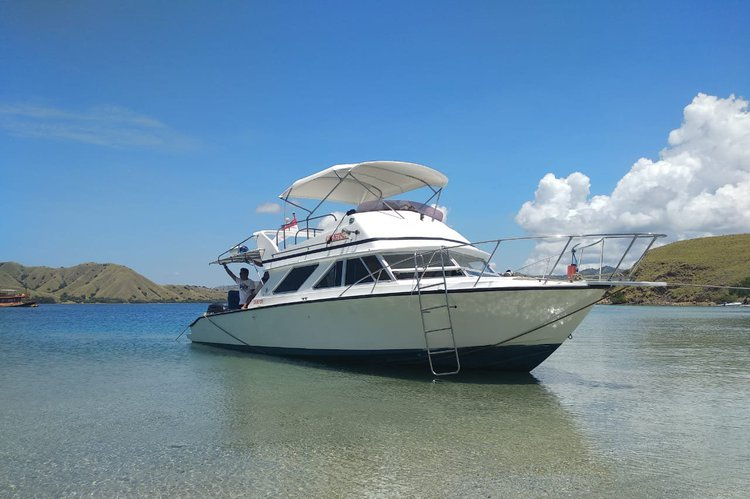 Cruise in style on this beautiful motor boat for rent in Indonesia