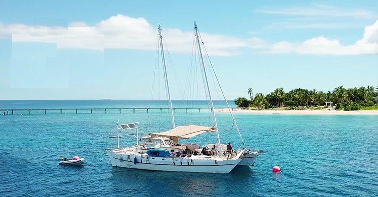 Hop aboard this gorgeous catamaran rental in Fiji!