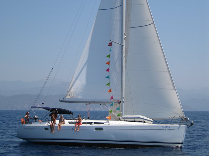 Sail the beautiful waters of Fethiye on this cozy Jeanneau Sun Odyssey 45