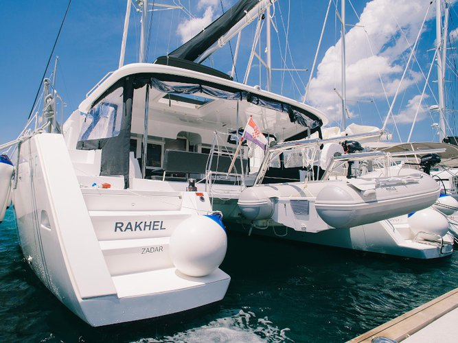 Sail the beautiful waters of Seget Donji on this cozy Lagoon Lagoon 450  Flybridge