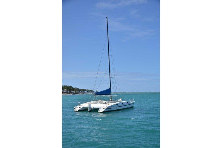Hop aboard this amazing catamaran rental in Mauritius!
