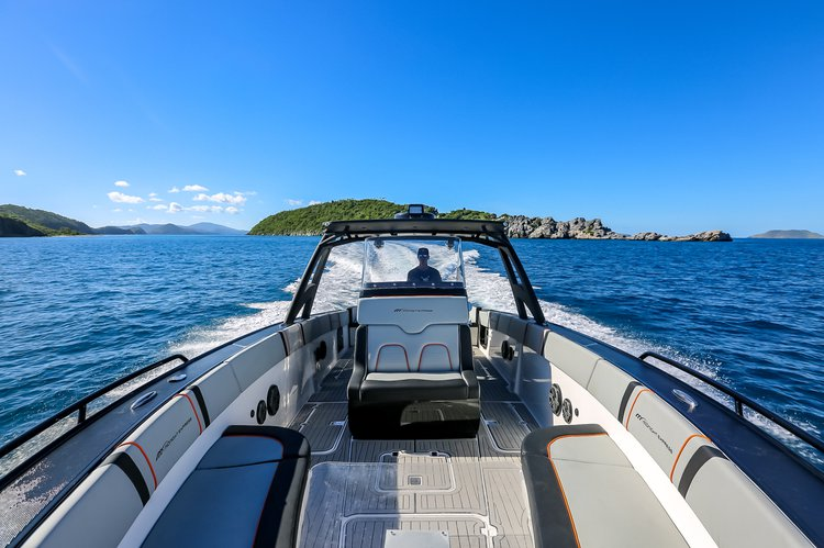 Discover Charlotte Amalie surroundings on this 37' Open Midnight Express boat