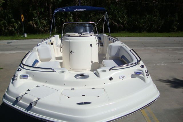 Discover St. Petersburg surroundings on this FD211 Hurricane boat