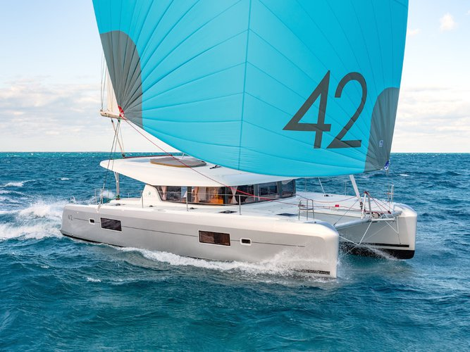 Experience Slano, HR on board this amazing Lagoon Lagoon 42 (2020) equipped with generator, A/C (saloon+cabins),wa