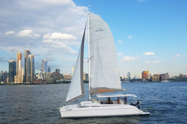 Spectacular NYC Views on Gemini Freestyle 37 Catamaran Charter in Jersey City, NJ