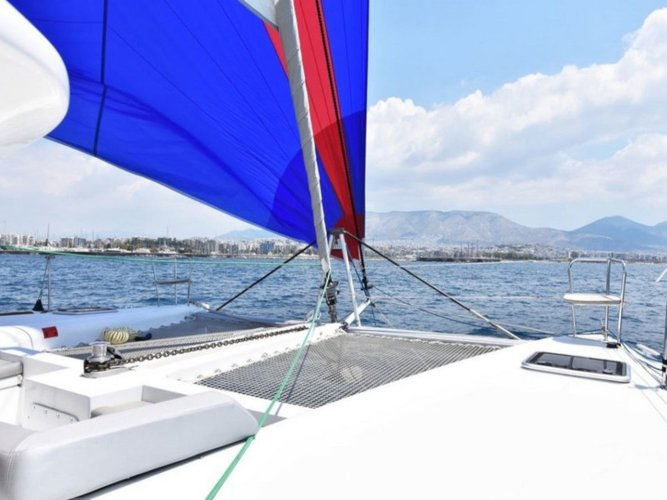 Sail the beautiful waters of Athens on this cozy Lagoon Lagoon 450  Flybridge