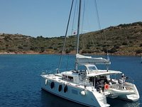 Sail the beautiful waters of Athens on this cozy Lagoon Lagoon 400