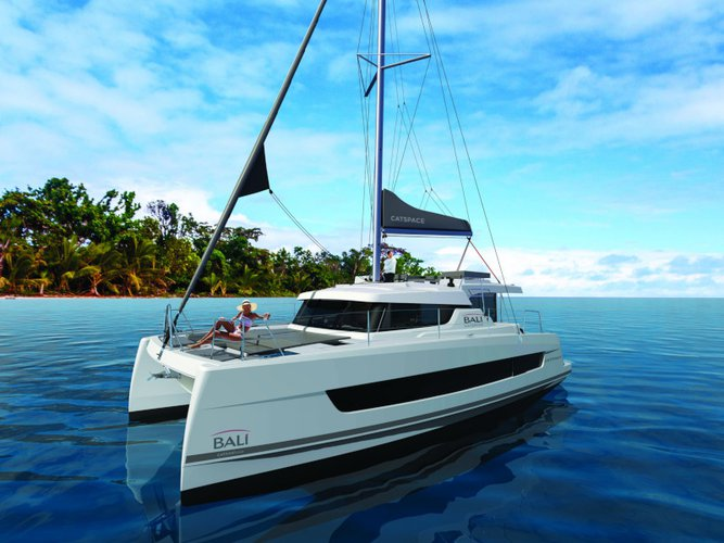 Sail the beautiful waters of Salerno on this cozy Bali Catamarans Bali Catspace