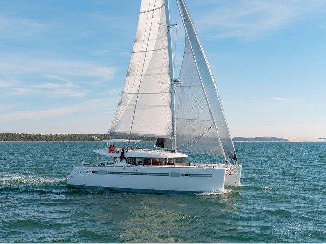 Sail the beautiful waters of Bilice, Šibenik on this cozy Lagoon Lagoon 450 Sport