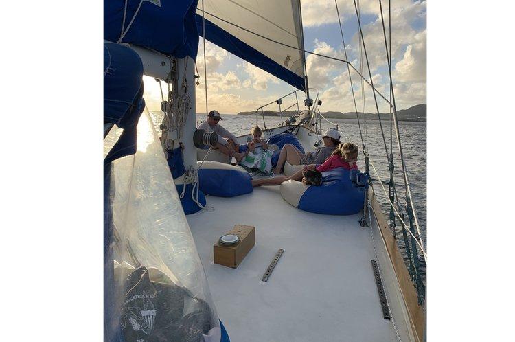 Ketch boat rental in Compass Point marina, U.S. Virgin Islands