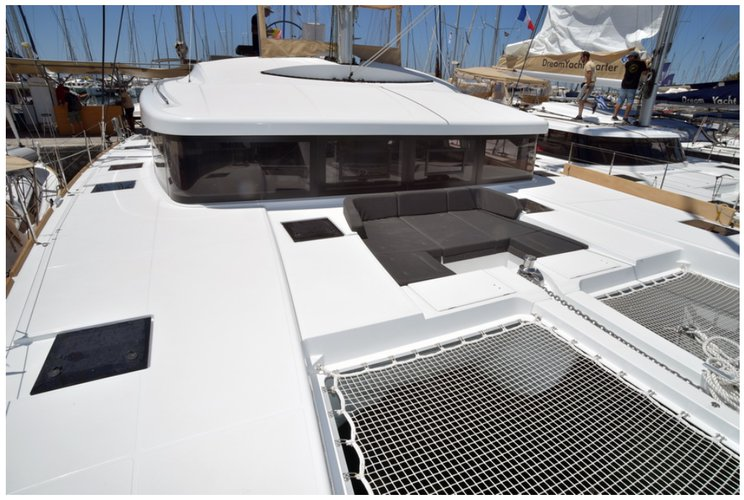 Catamaran boat rental in Compass Point marina, U.S. Virgin Islands