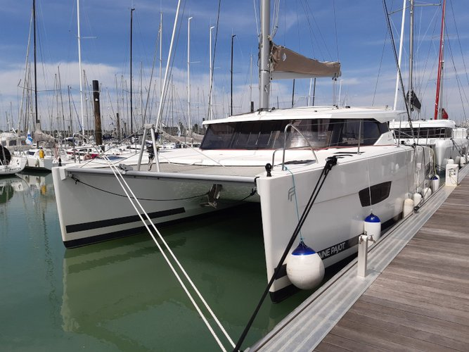 Experience La Rochelle, FR on board this amazing Fountaine Pajot Lucia 40