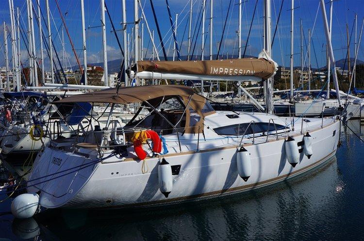 Discover Saronic Gulf surroundings on this Elan Impression 45 Elan Marine boat
