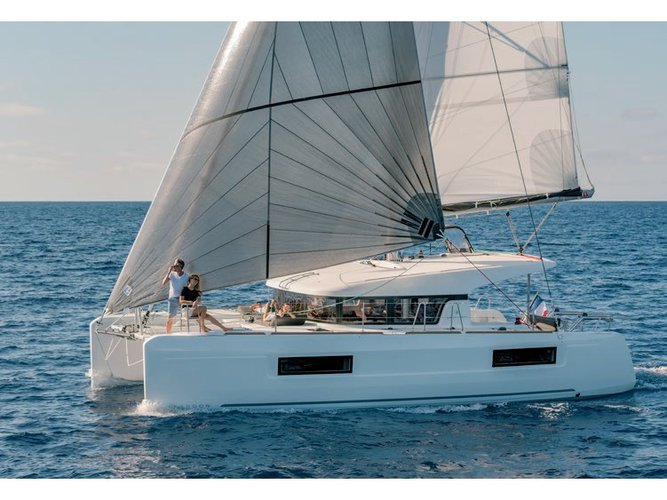 Sail the beautiful waters of Capo d'Orlando on this cozy Lagoon Lagoon 40