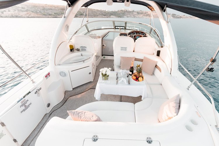 Up to 11 persons can enjoy a ride on this Sea Ray boat