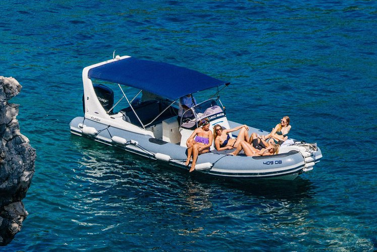 Up to 9 persons can enjoy a ride on this Inflatable outboard boat