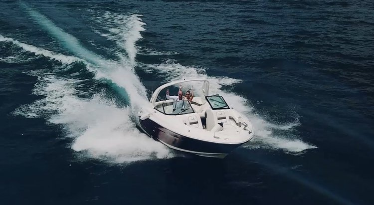 Twin engine 29' open front boat for rent.