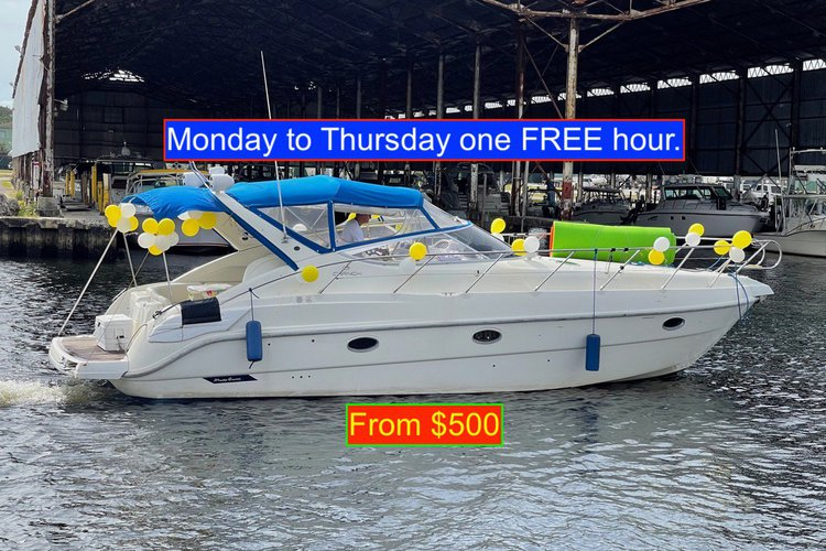 Enjoy Miami aboard this beautifully yacht. Monday to Thursday one hour FREE from $500.