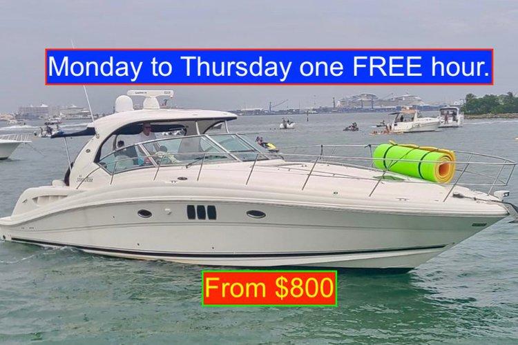 Enjoy Miami lifestyle aboard  this beautifully yacht. Monday to Thursday one hour FREE.